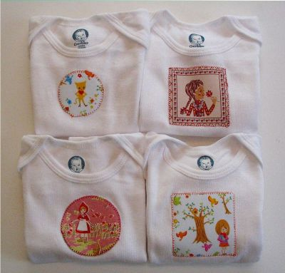 Angry chicken appliqued onesies