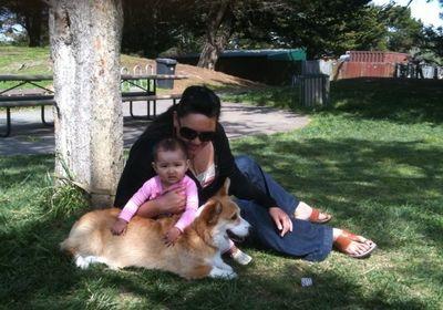 Eva and Bryson at picnic